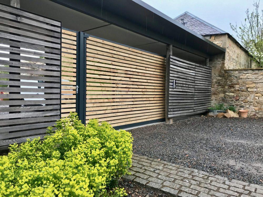 Automatic Wooden Driveway Gates Installed in Edinburgh Scotland
