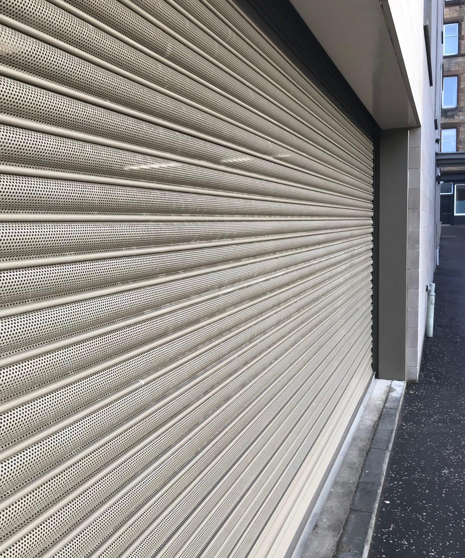 Perforated Roller Shutter Door for an underground Car Park in Edinburgh