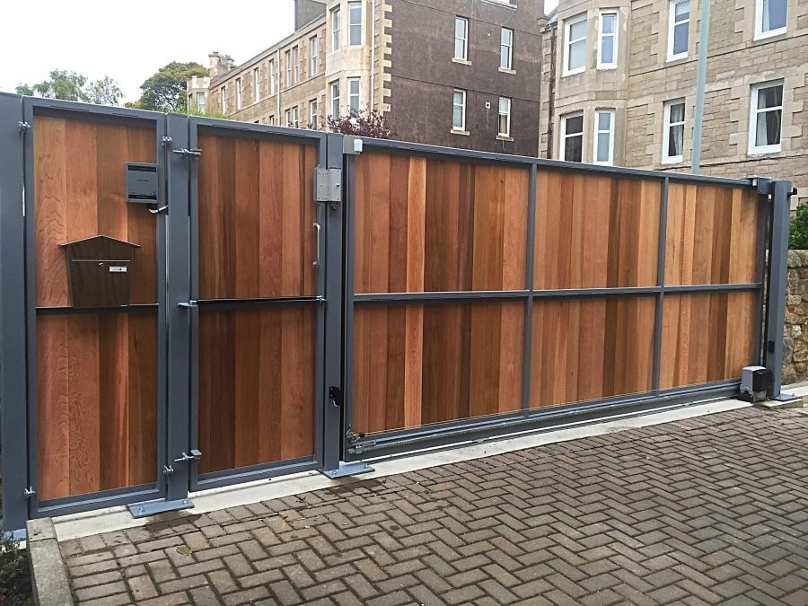 Automatic Electric Wooden Driveway Gate installed in Edinburgh Scotland