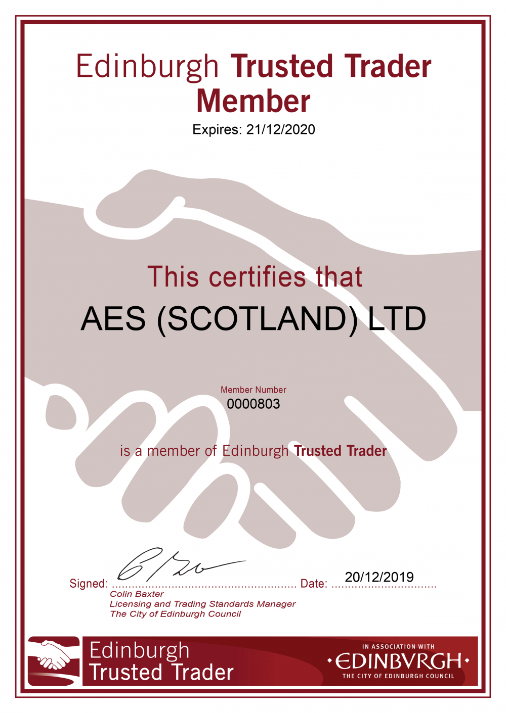 AES (SCOTLAND) LTD Edinburgh Trusted Trader