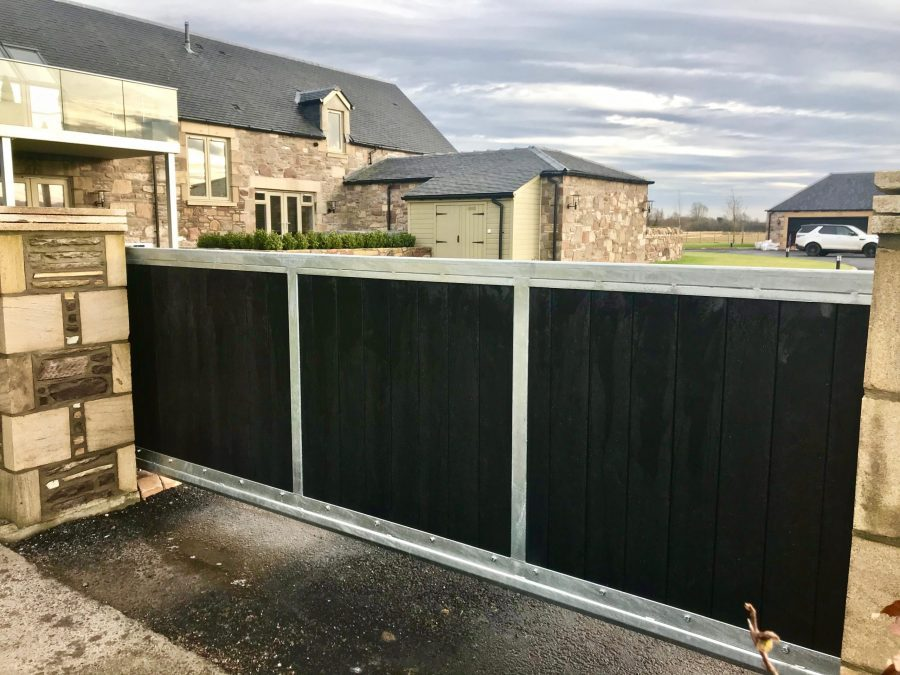 Automatic Aluminium Cantilever Gate installed in Stirlingshire