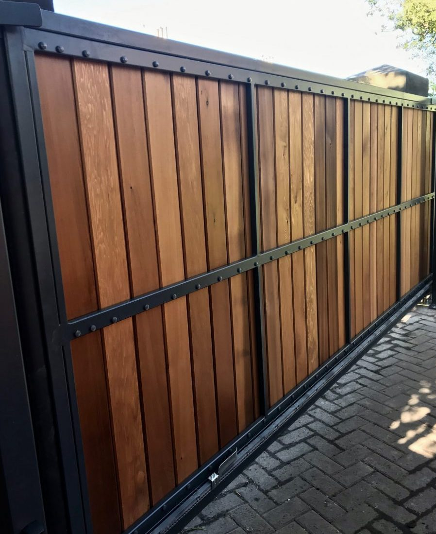 Automatic Wooden Driveway Gate Installed in Edinburgh Scotland
