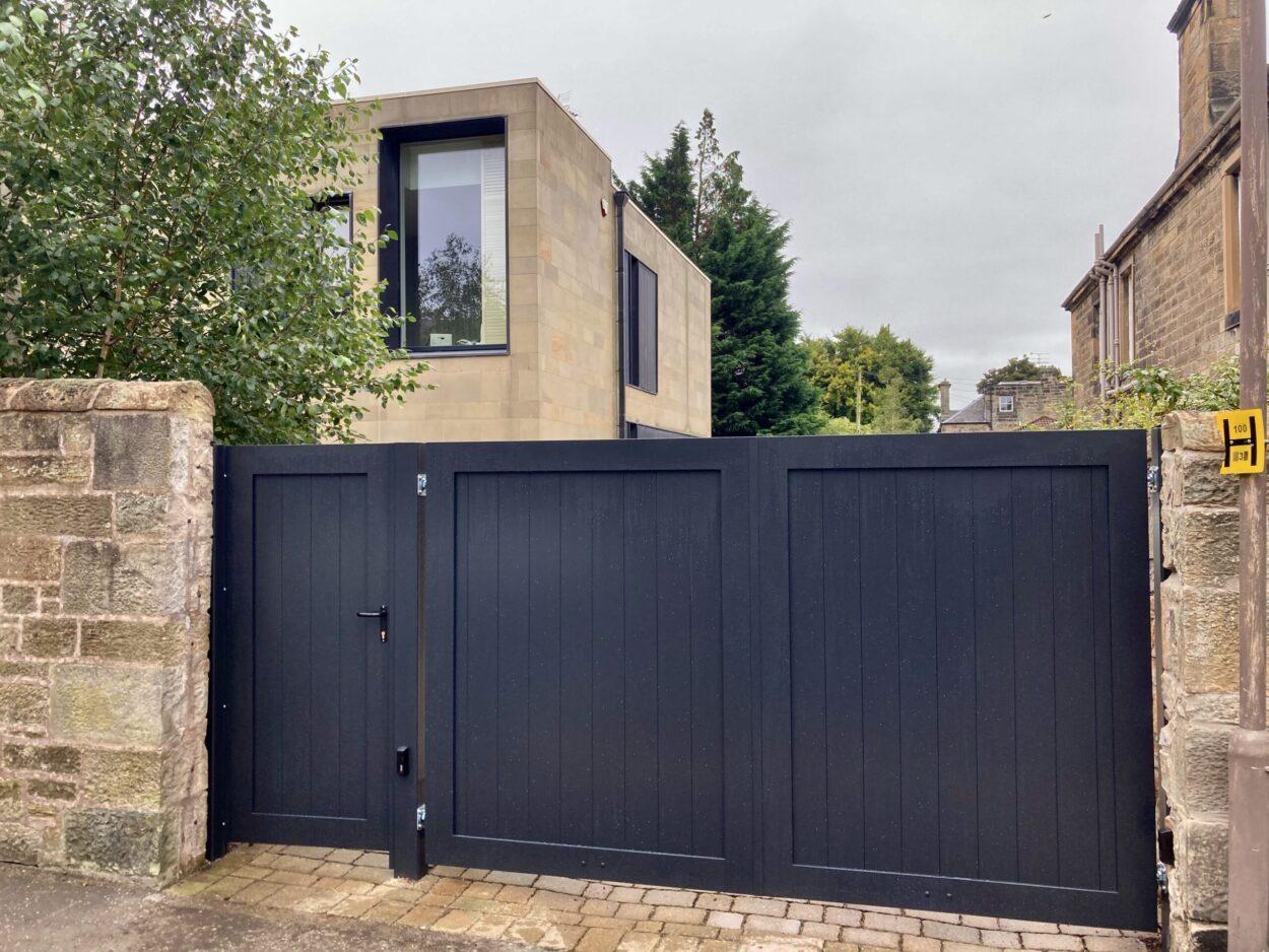 AES (SCOTLAND) LTD recently installed automatic aluminium gates with pedestrian gate in Edinburgh